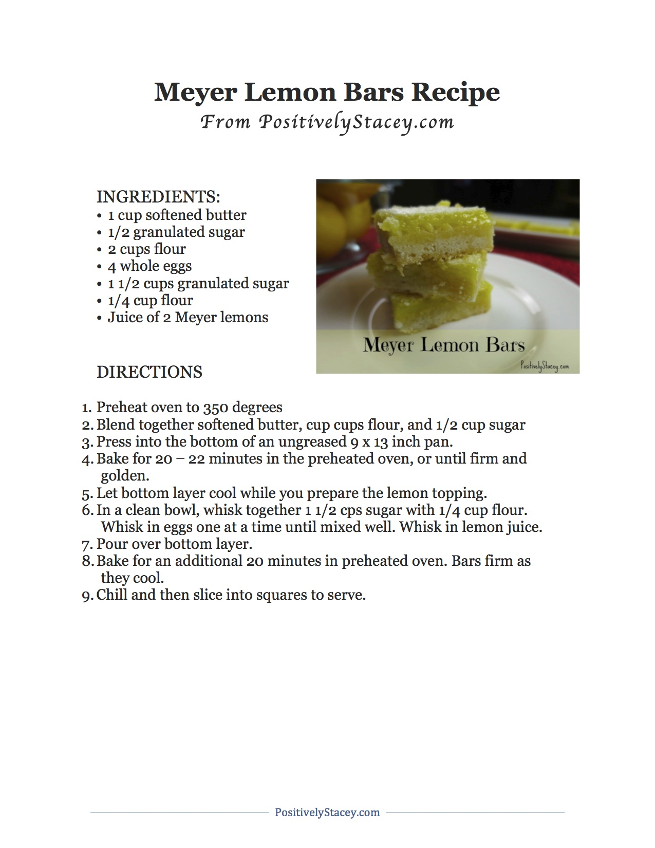 Meyer Lemon Bars Recipe