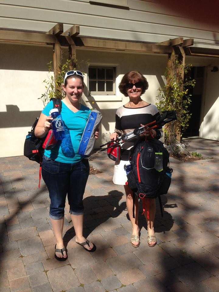 Tricia and Ashley with their REI prize package  they won!