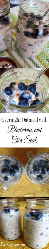 This Blueberry and chia seed overnight oatmeal is delicious! Make it at night and you will have a yummy and healthy breakfast waiting for you in the morning!