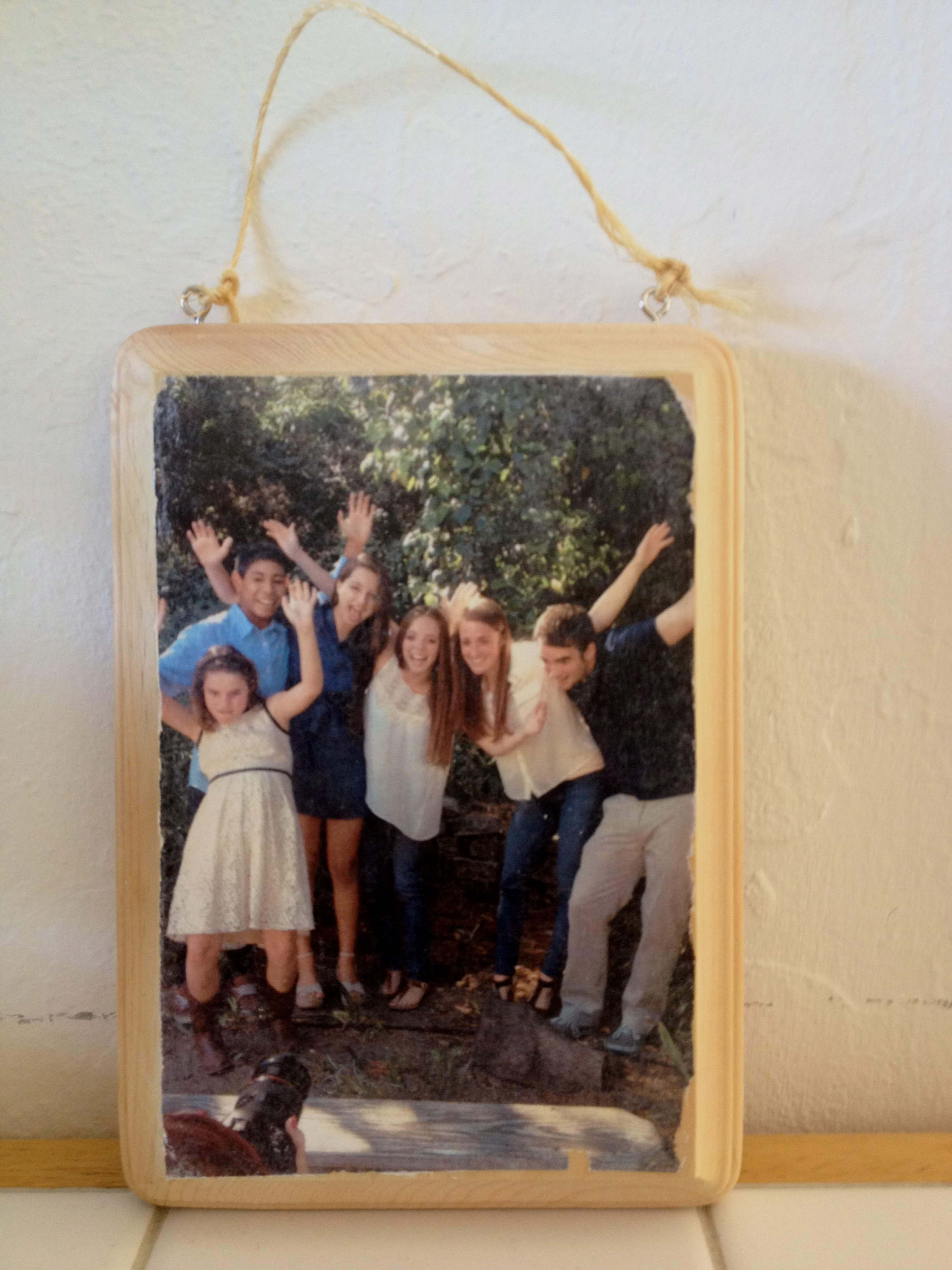 Kids photo on wood