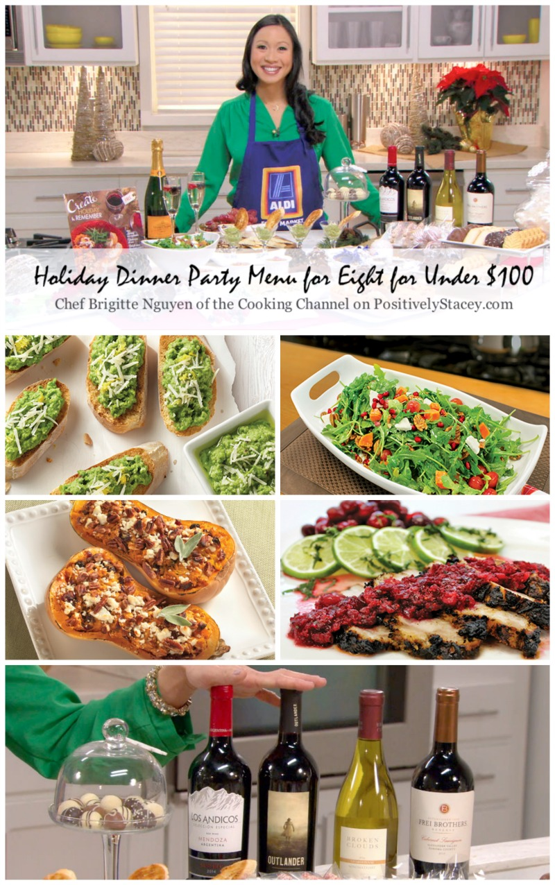Budget Party Menu - Interview with Chef Brigitte Nguyen of the Cooking Channel on how to throw a dinner party for eight for under $100! That even includes four bottles of wine!