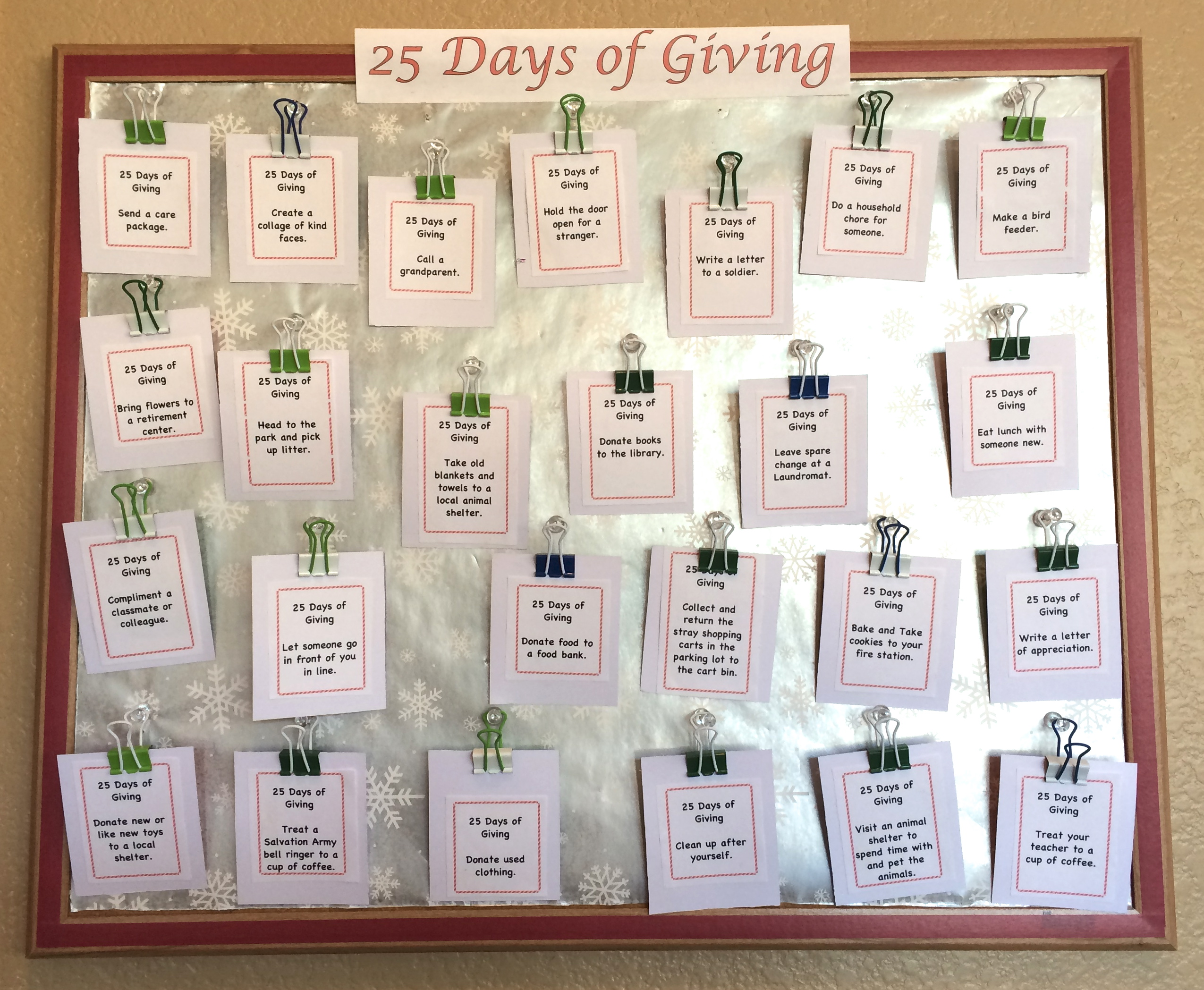 25 Days of Giving Calendar