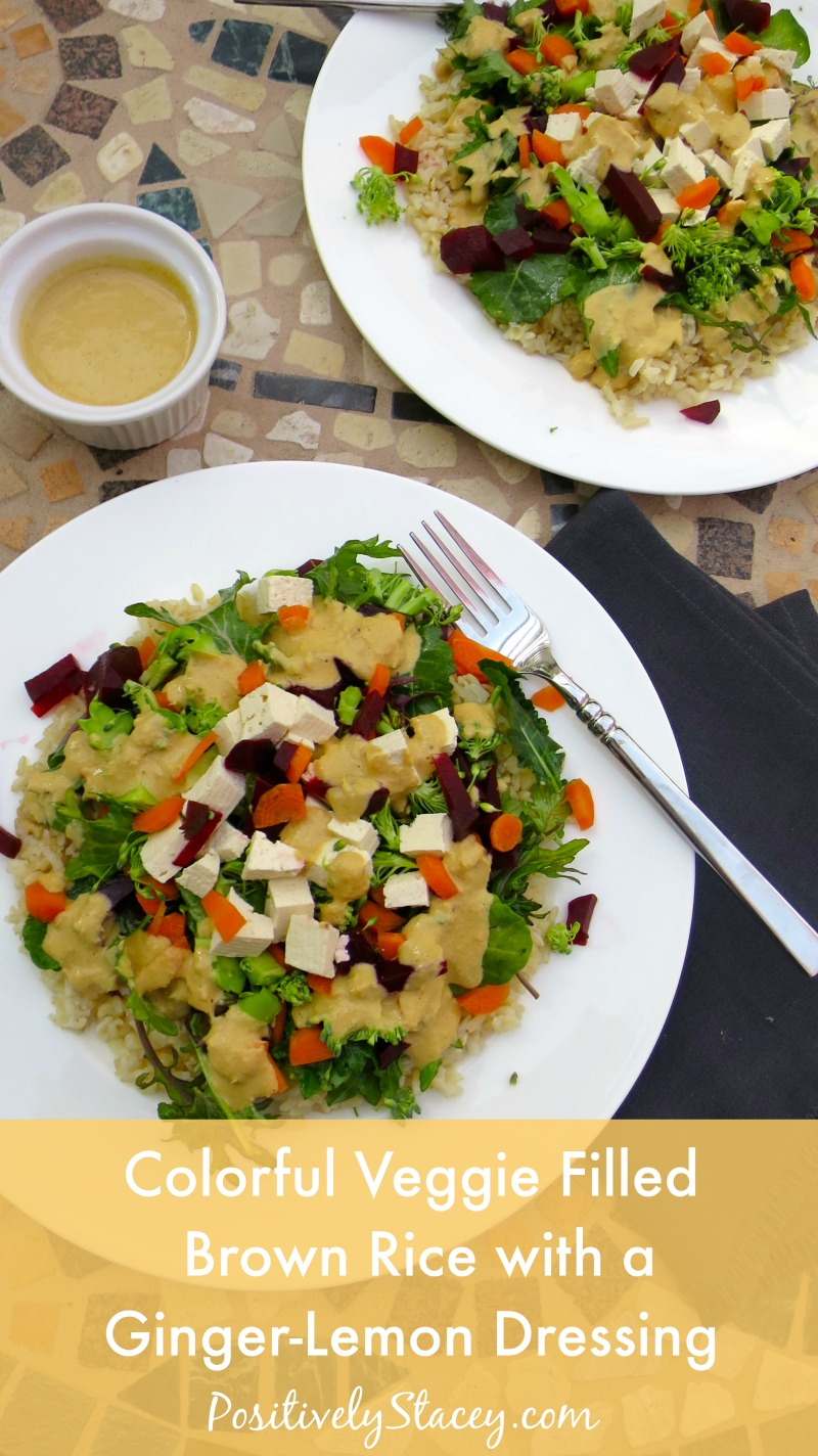 Life Alive inspired Colorful Veggie Filled Brown Rice with a Ginger-Lemon Dressing