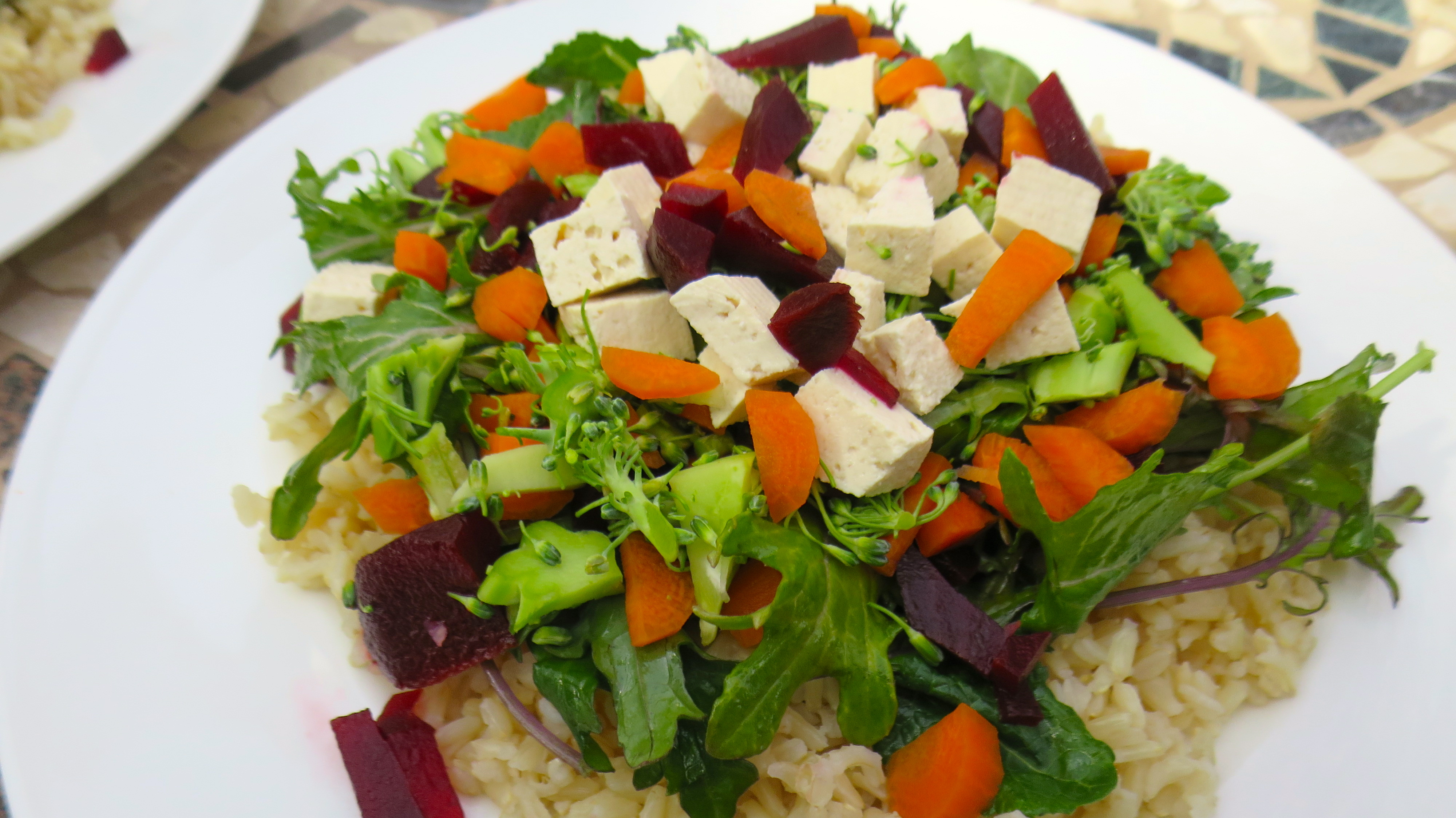 Colorful Veggie Filled Brown Rice with a Ginger-Lemon Dressing Winter Salad