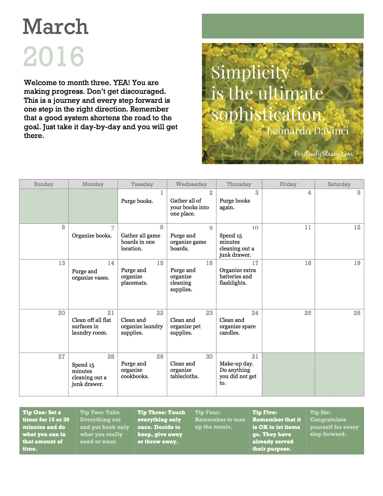 Calendar For Home Organization : Getting organized home organization plan march calendar