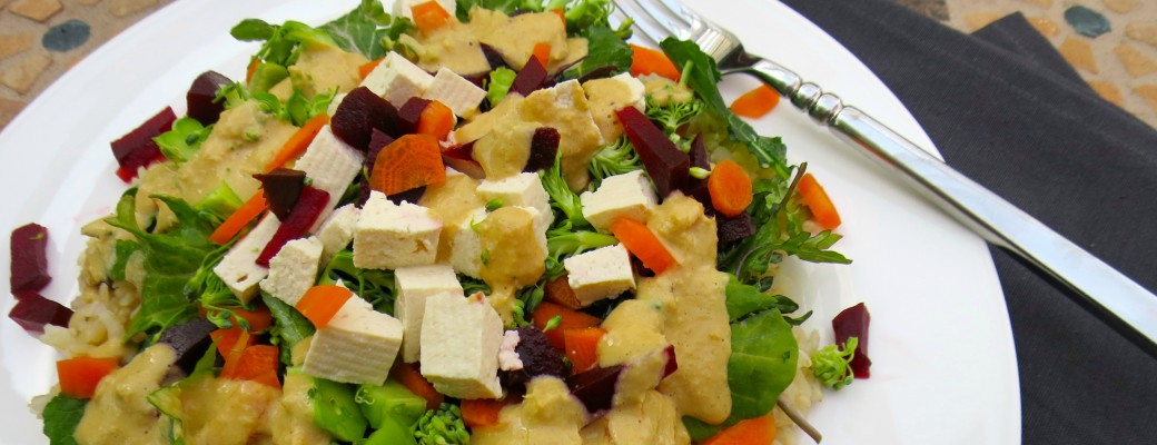 Colorful Veggie Filled Brown Rice with a Ginger-Lemon Dressing Winter Salad #SundaySupper