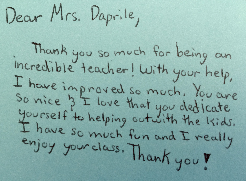 Dear Mrs Daprile