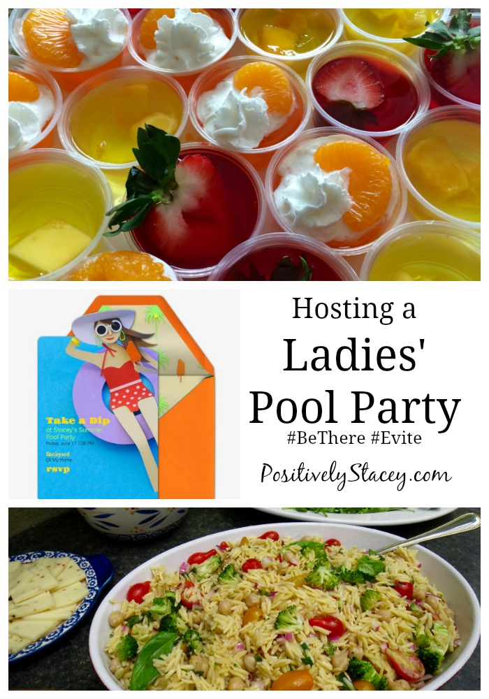 Hosting a Ladies' Pool Party with #Evite! Here are some of my favorite jello shot recipes as well as a make-ahead menu. #BeThere