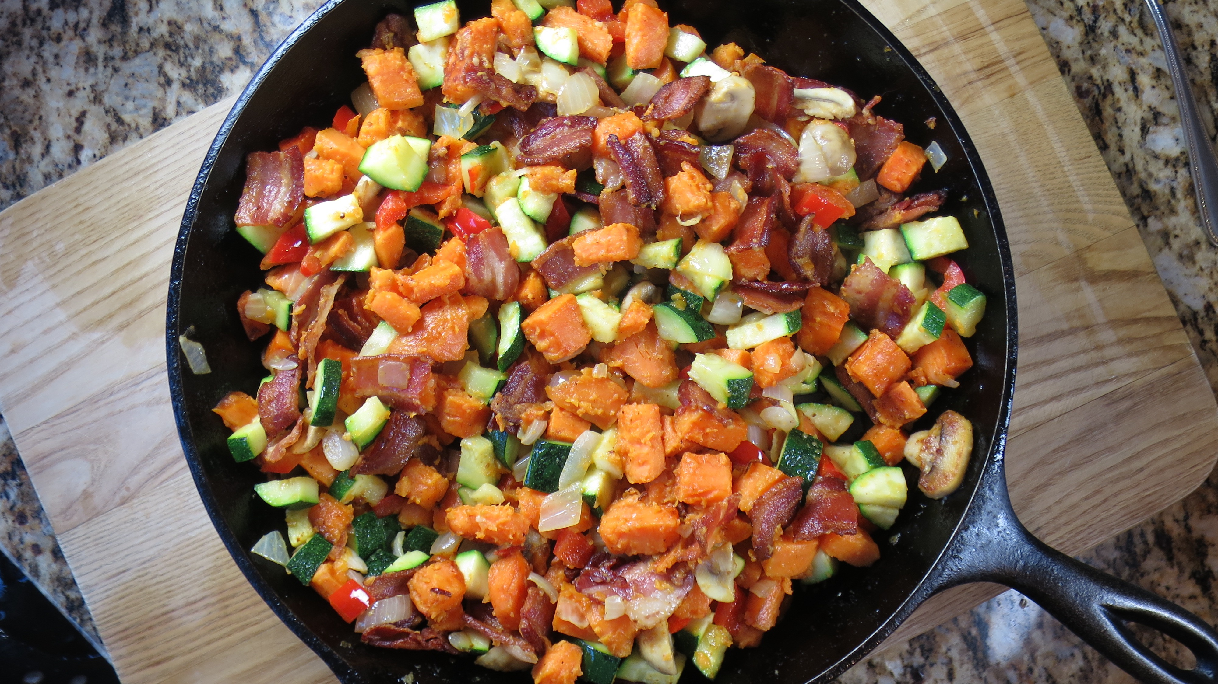 Sweet Potato, Bacon, and Egg Skillet