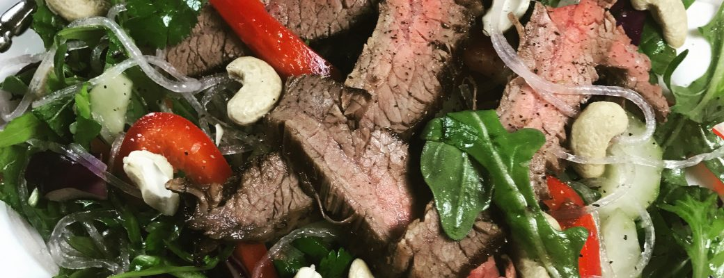 Thai Steak Salad with Noodles #SundaySupper