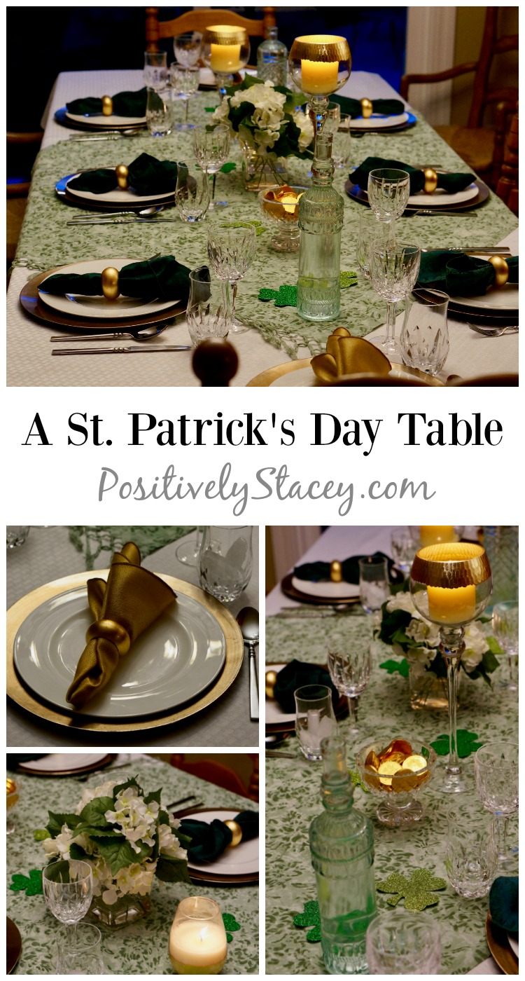 A Saint Patrick's Day table of green, gold, and white with a delicious dinner menu starring Beef and Guinness Stew. Company worthy!