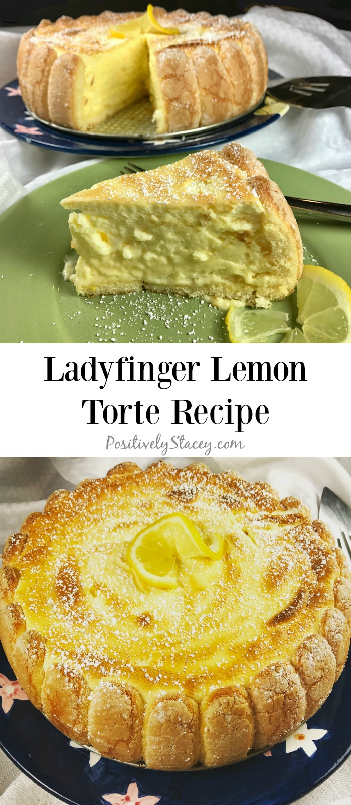 This ladyfinger lemon torte recipe makes a dessert that is melt in your mouth delicious! Light and lemony! Cool and refreshing!