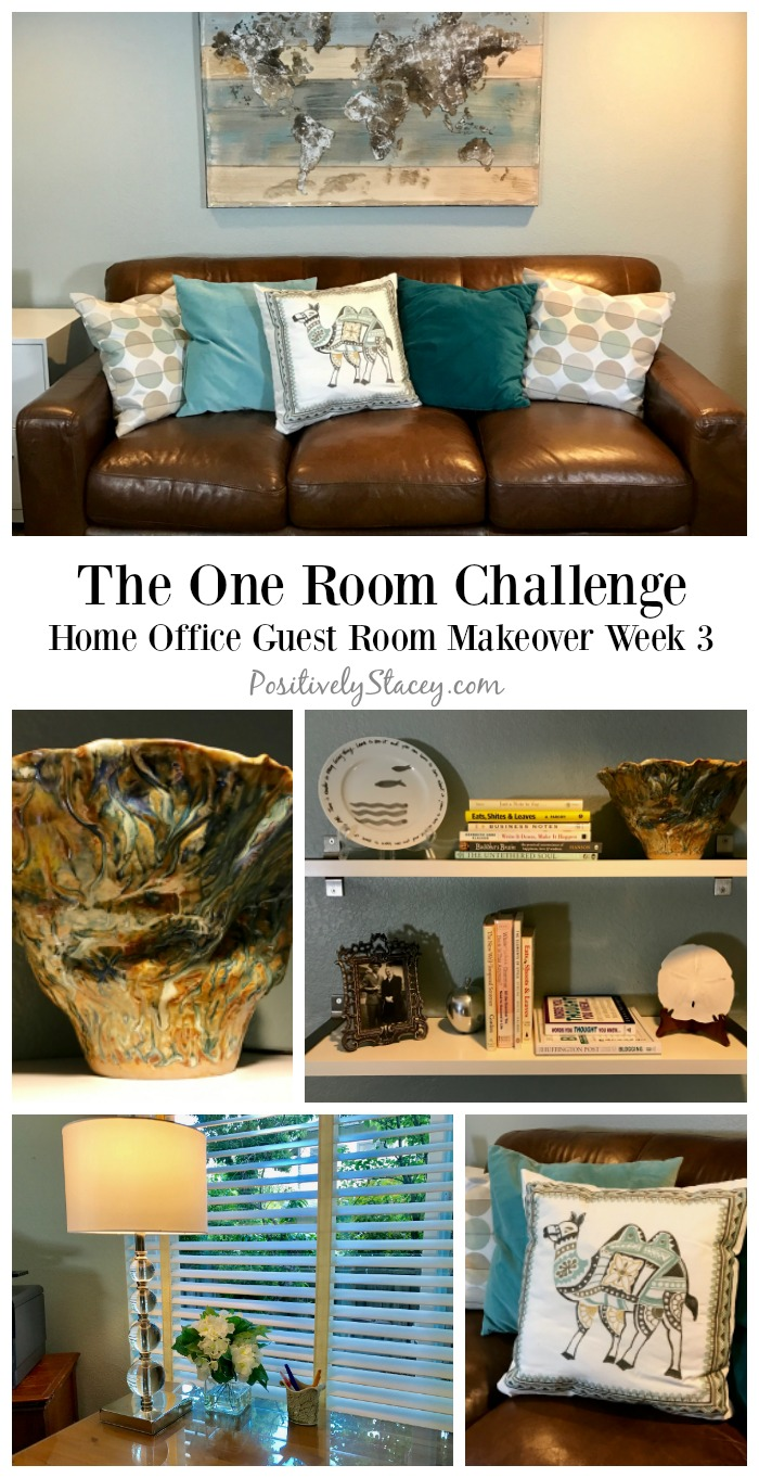 Progress is being made with my One Room Challenge! ORC: The Home Office Guest Room week 3 is about hanging some shelves and adding some decor.