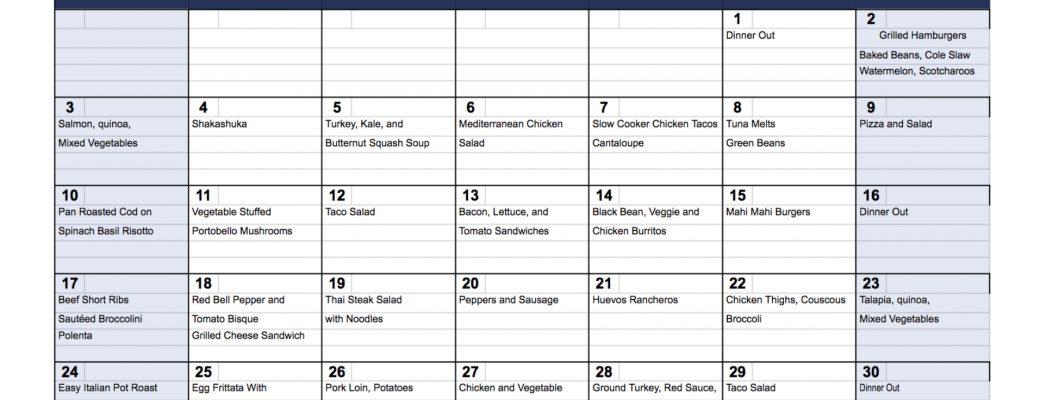 A Month of Dinner Ideas for September