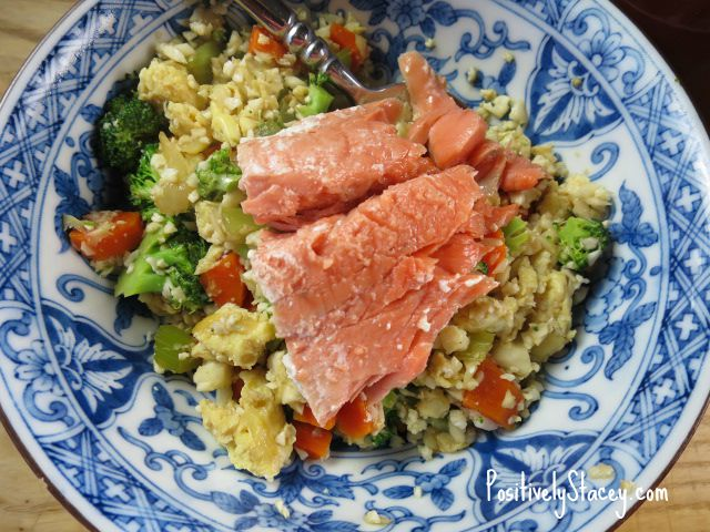 Cauliflower Fried Rice with Salmon
