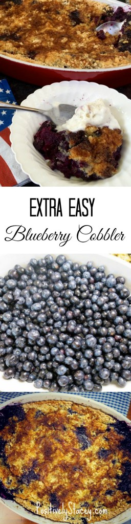 This Extra Easy Blueberry Cobbler Recipe is the bomb! So fast, easy, and oh so delicious! Love it!