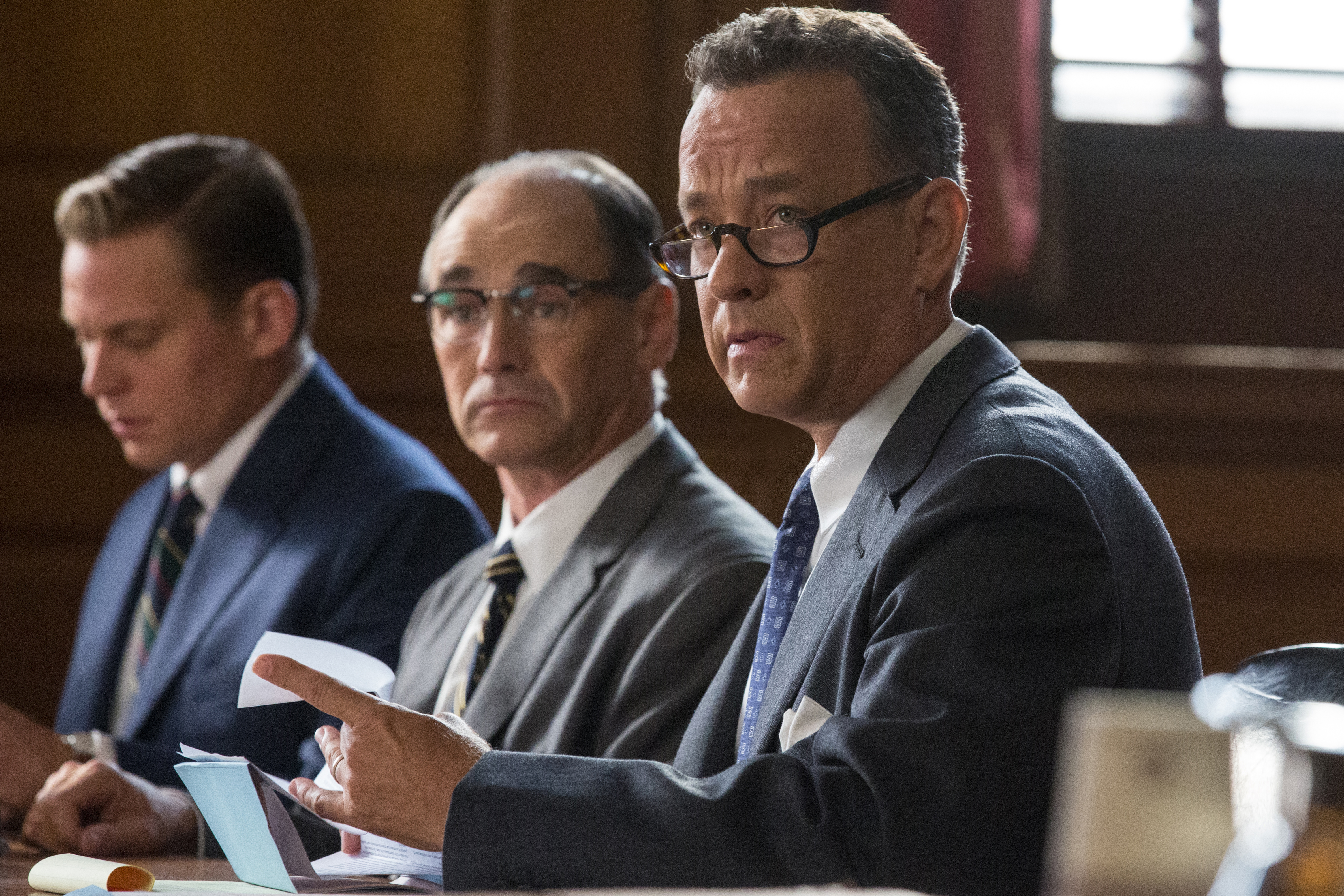 Tom Hanks as James Donovan, Mark Rylance as Rudolf Abel and Billy Magnusson as Douglas Forrester in BRIDGE OF SPIES, a dramatic thriller directed by Steven Spielberg.
