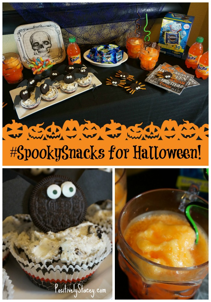 #SpookySnacks are perfect for your Halloween Party! Check out how easy these Just Plain Batty No-Bake OREO Cheesecakes and Fanta Brain Freeze Floats are to make! @Walmart #ad