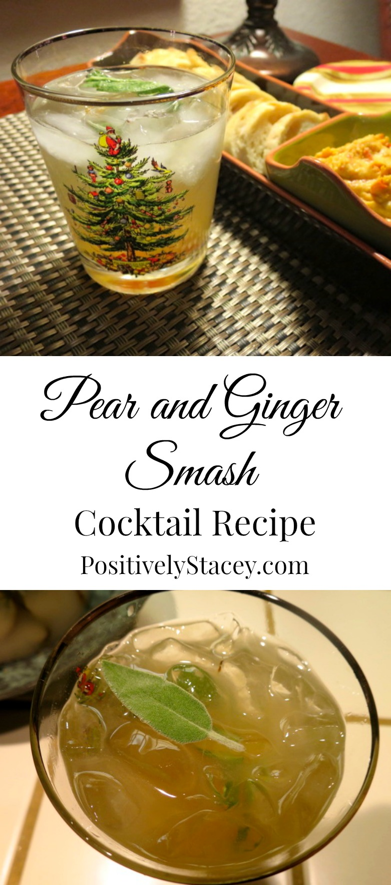 Pear and Ginger Smash Cocktail Recipe - This is a wonderful cocktail for the holidays! Simply delicious and easy to make.