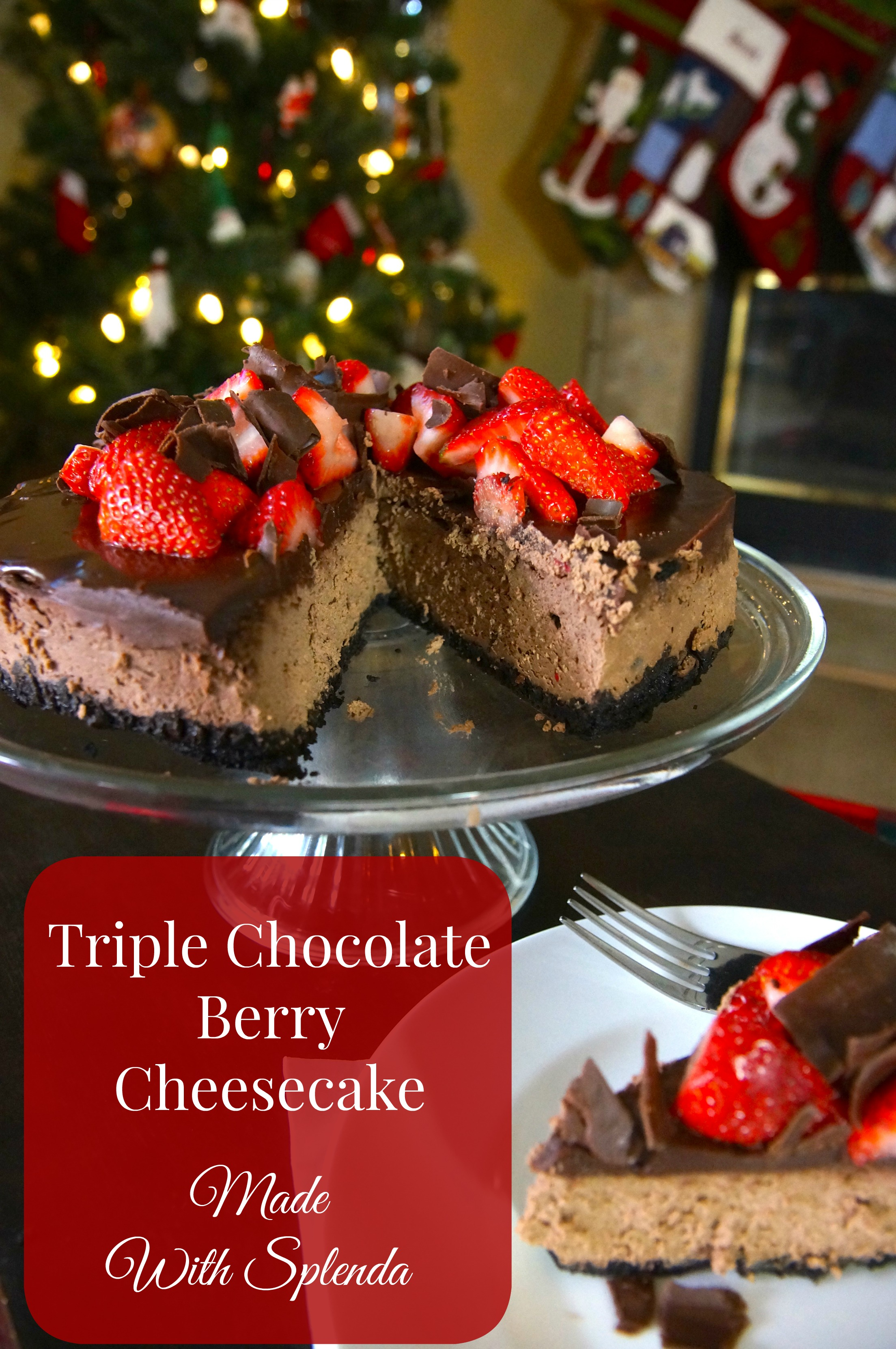 Triple Chocolate Berry Cheesecake made with SPLENDA® No Calorie Sweetener is absolutely creamy and delicious! Oh so Chocolatey!