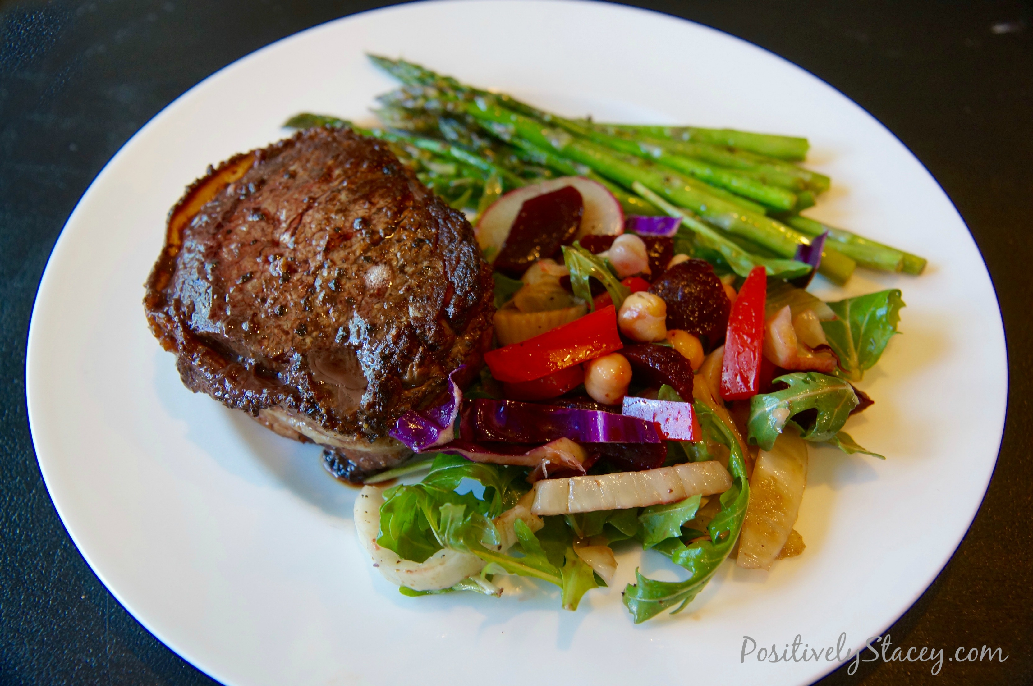 Bacon Wrapped Filet Mignon and Salad