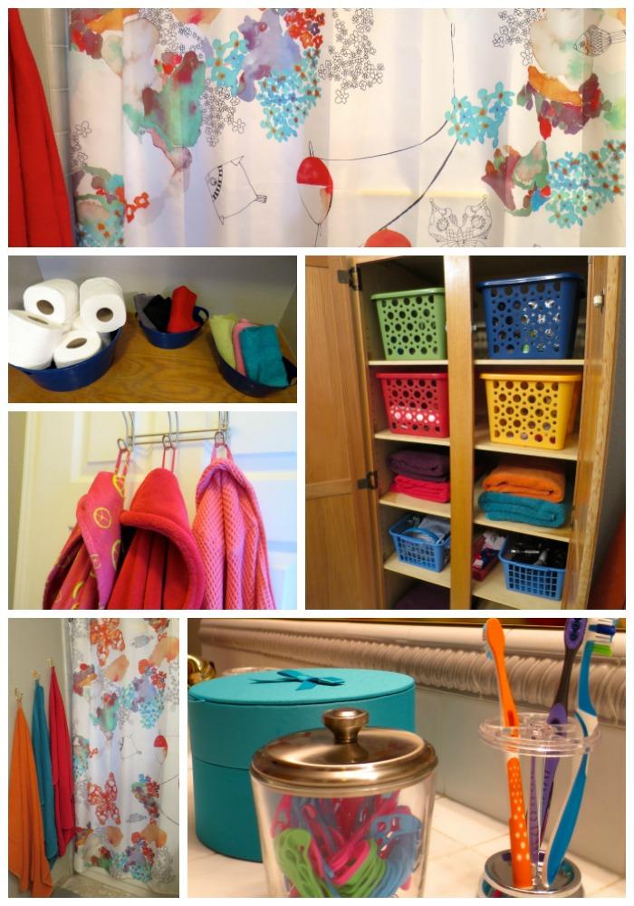 bathroom organization collage