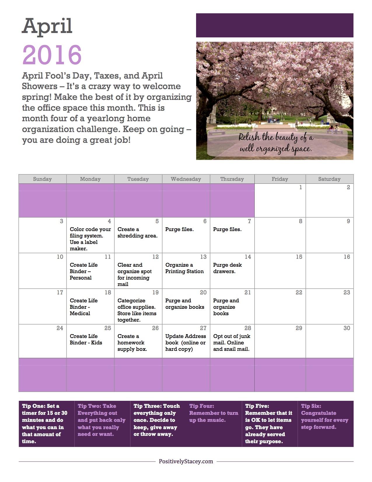 April Home Prganization Plan
