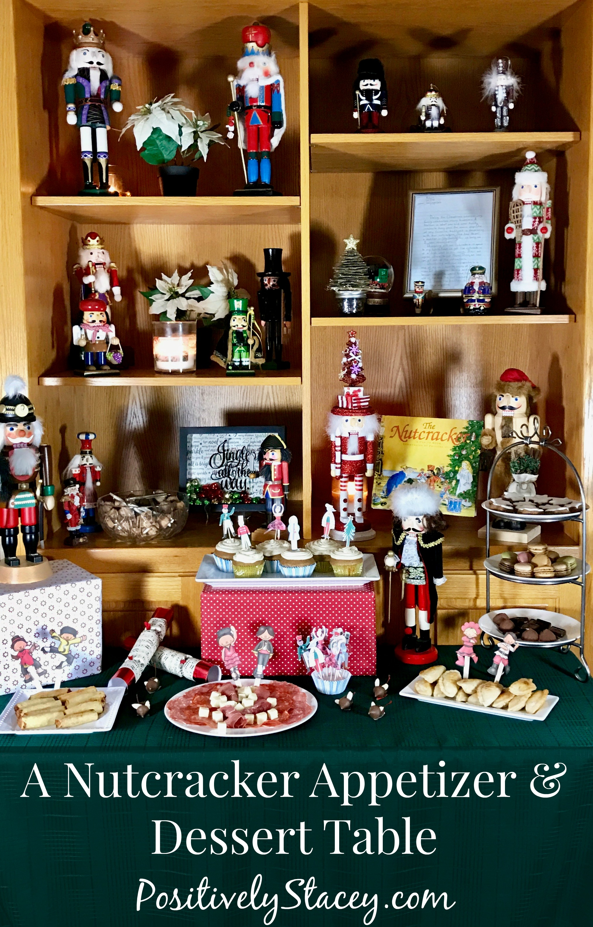 This is the perfect Nutcracker Appetizer and Dessert Table to set up. This buffet offers both bite sized savory and sweet finger foods.