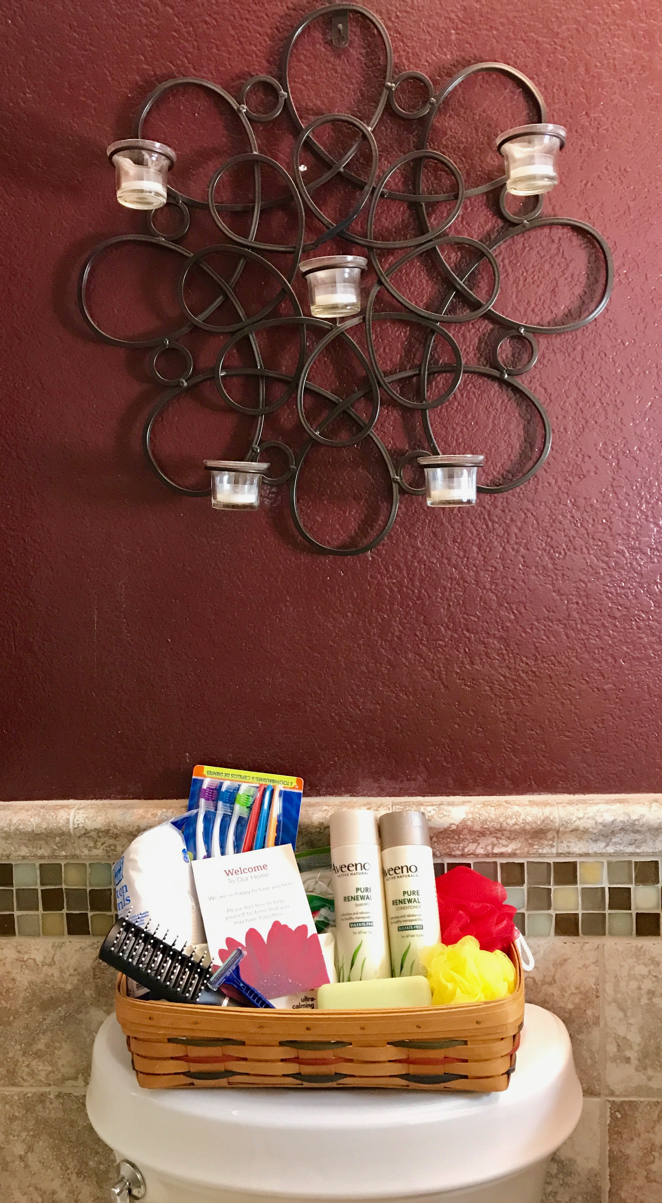 Welcome Guest Bathroom Basket