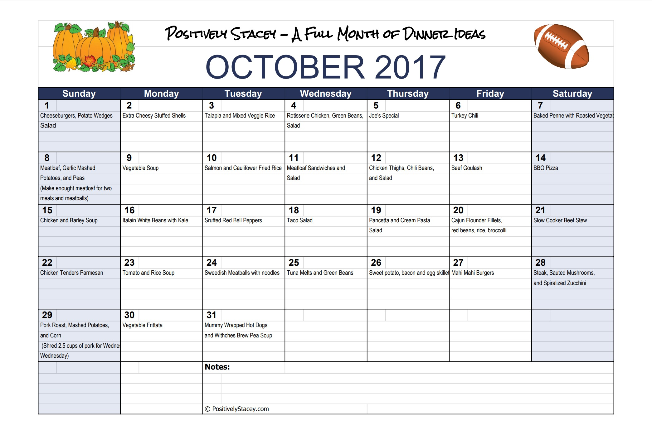 A Month of Dinner Ideas for October