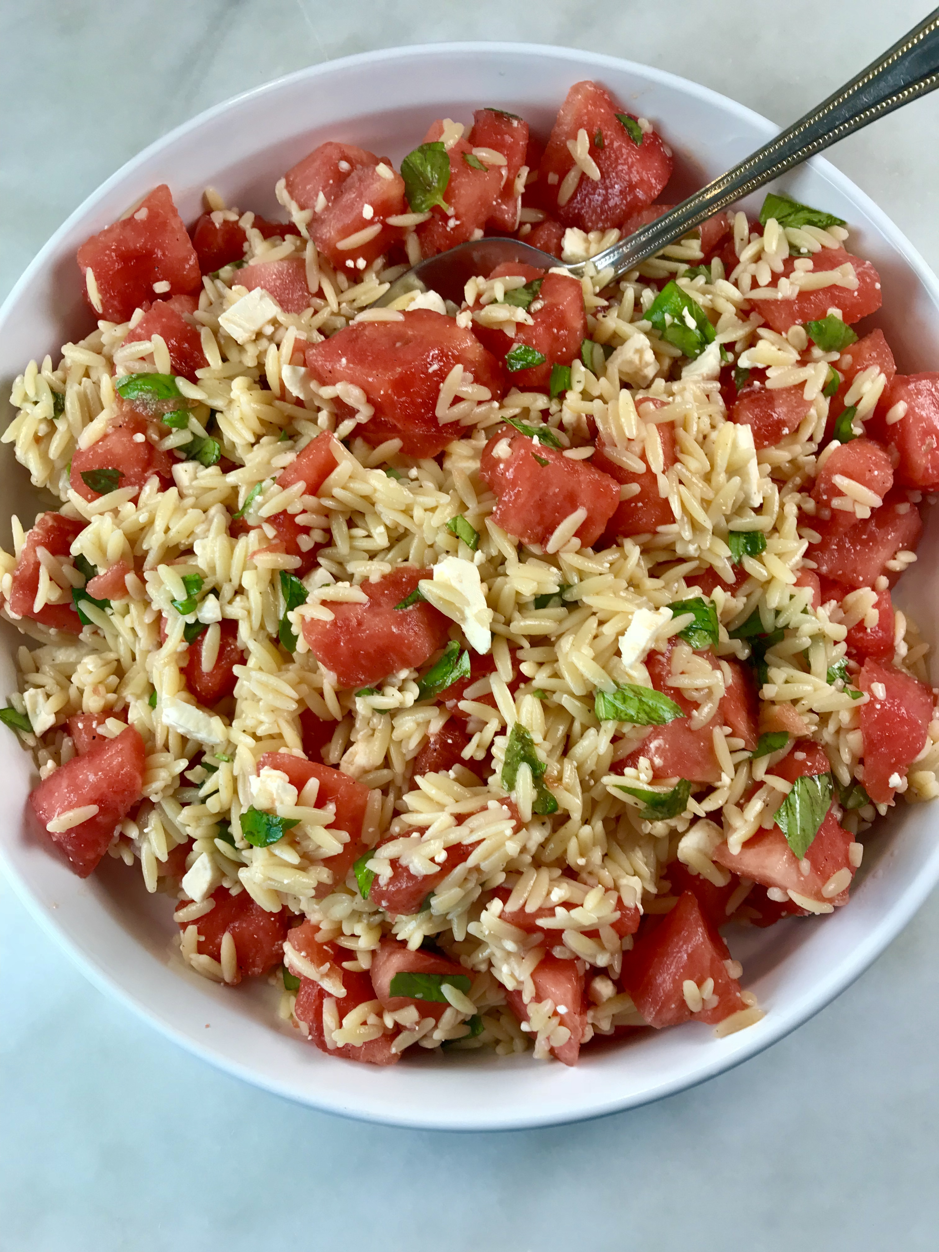 Orzo Salad with Watermelon and Feta