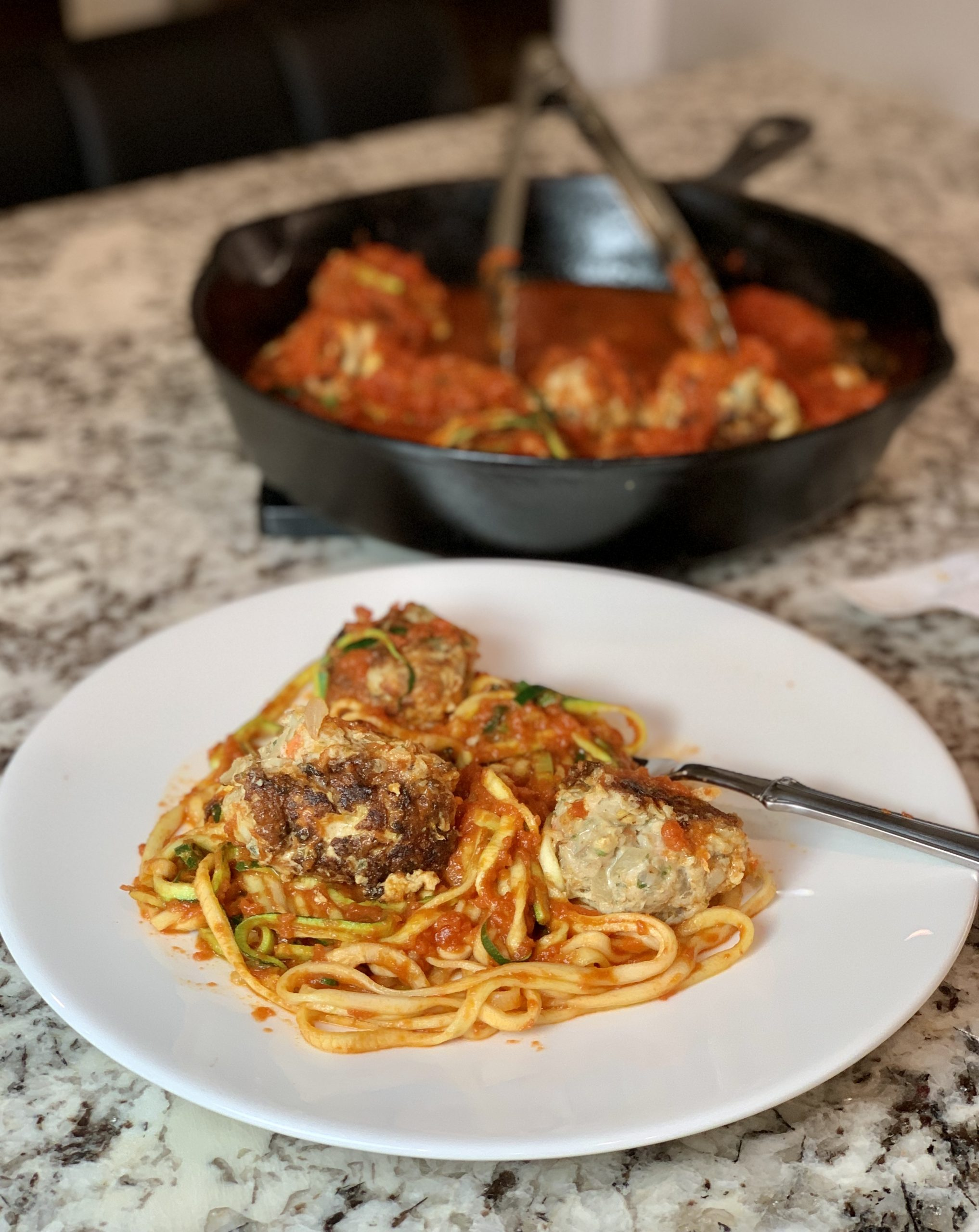 Turkey Meatballs with Marinara Zoodles