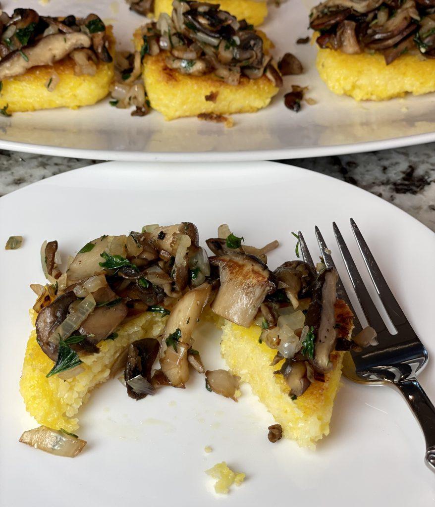 Fried Polenta with a Wild Mushroom Sauté